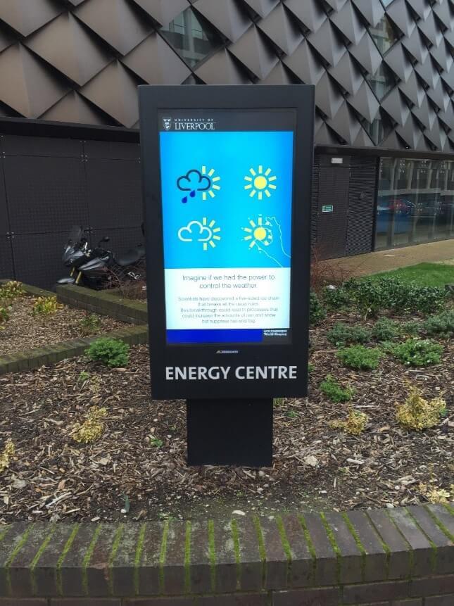 Armoire outdoor environnementale d'Armagard à l'université de Liverpool.