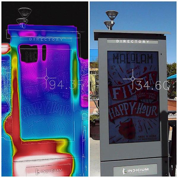 L'imagerie thermique montre des armoires LCD Armagard