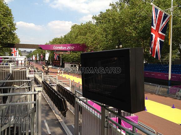 Panneau d'affichage extérieur le long du Mall aux jeux Olympiques de Londres 2012