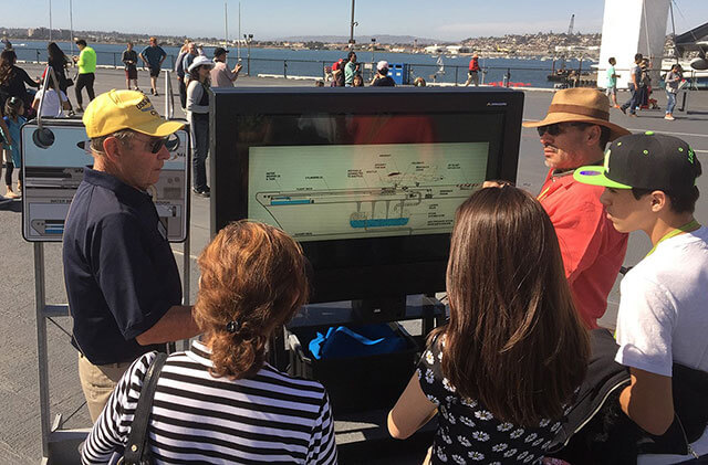 Affichage numérique interactif d'Armagard à bord du Midway Battleship